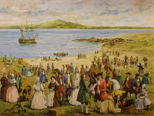 Desembarco de primeras familias canarias en Montevideo 1726